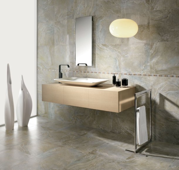 interesting-simple-bathroom-sink-model-soft-gray-marble-soft-brown-border-ceramic-mosaic-wall-rectangle-frameless-wall-mirror-iron-black-brushed-finish-modern-faucet-white-ceramic-vessel-sink-soft-br